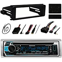 Kenwood KMR-D368BT Stereo Receiver CD MP3 Player - Bundle Combo With Metra DIN Dash Installation Kit + Handle Bar Controller Module + Enrock 22 AM/FM Radio Antenna For 1998-2013 Harley Motorcycles