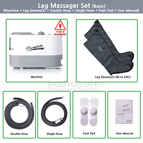 [DOCTOR LIFE] V3 Sequential Air Compression Leg Massager. Blood & Lymphatic Circulation Therapy System. Recovery boots. Recovery Pump. Sleeve Size: XL. 110V U.S.