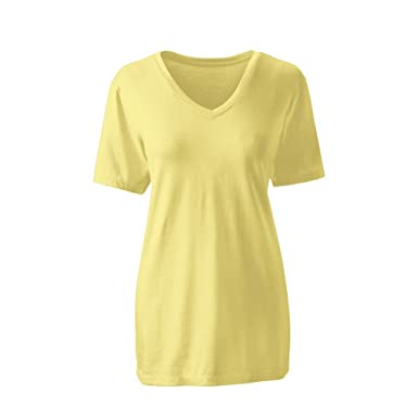 fe7a57e5f59e Lands' End Women's Tall Supima Cotton Short Sleeve T-Shirt - Relaxed V-Neck  at Amazon Women's Clothing store: