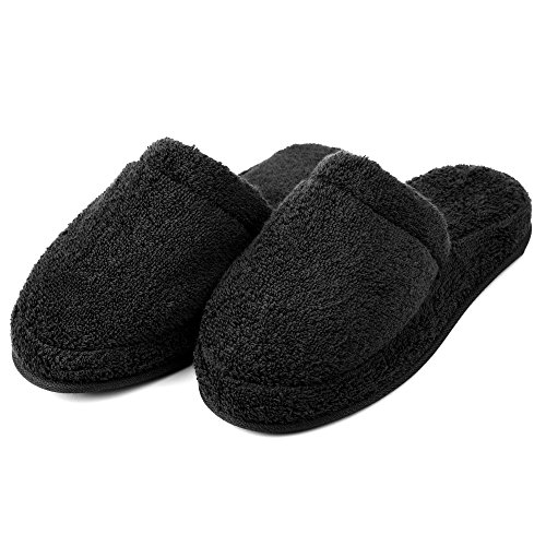 (EuropeanSoftest Women's Cozy Premium 100% Turkish Terry Cotton Cloth Spa House Indoor Slipper (Black, X-Large))