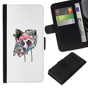 NEECELL GIFT forCITY // Billetera de cuero Caso Cubierta de protección Carcasa / Leather Wallet Case for Samsung Galaxy A3 // Lobo japonesa