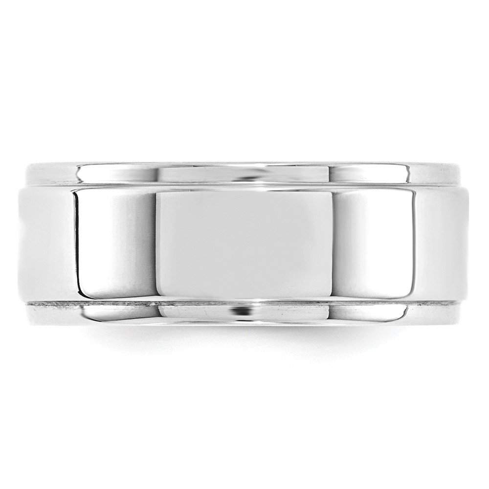 10k White Gold 8mm Flat with Step Edge Band Fine Jewelry Ideal Gifts For Women