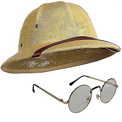 Safari Professor Helmet Gold Frame Glasses Explorer Hunter Costume Accessory Set