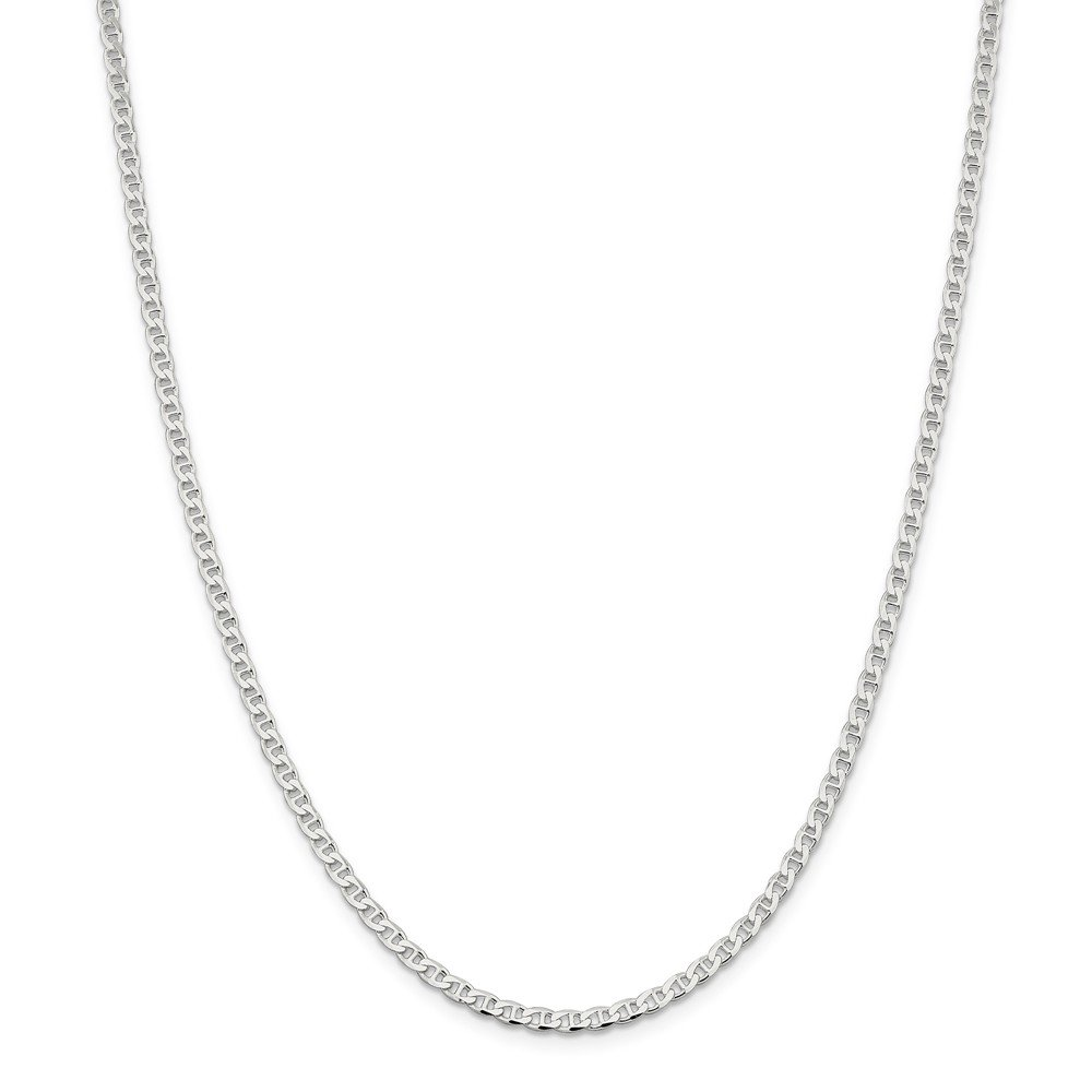 925 Sterling Silver 3.15mm Flat Link Anchor Chain Necklace 24 Inch Pendant Charm Fine Jewelry For Women Gift Set