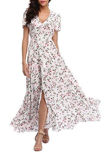 VintageClothing Women's Floral Print Maxi Dresses Boho Button Up Split Beach Party Dress, White&Floral, M