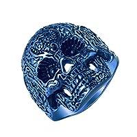Anillo de motocicleta de cráneo azul de acero inoxidable gótico Grunge de LineAve para hombres, tamaño 8, 7a5011s08