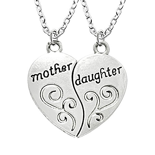 2 Pieces Retro Mother and Daughter Broken Heart Pendant Necklace Family Gift for Women Girl