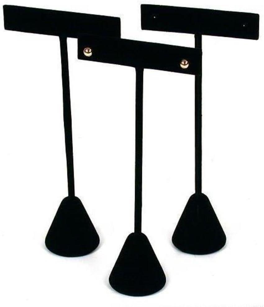 3 Black Velvet Earring T Stand Showcase Displays 5.75