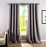 HOPE BEST Thermal Insulated Blackout Curtains Grommet Panel Room Darkening for Living Room and Bedroom 1 Panel Grey 52×95 Inch