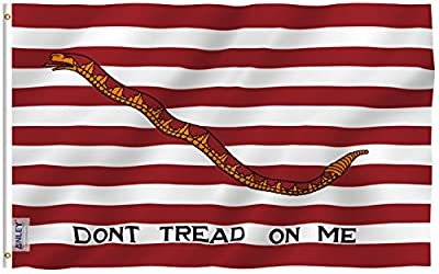 Anley Fly Breeze 3x5 Foot First Navy Jack Flag - Vivid Color and UV Fade Resistant - Canvas Header and Double Stitched - Dont Tread On Me Flags Polyester with Brass Grommets