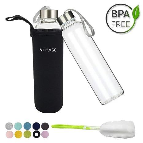 Voyage - Botella de cristal Classic sin BPA, de 550 ml, con funda de