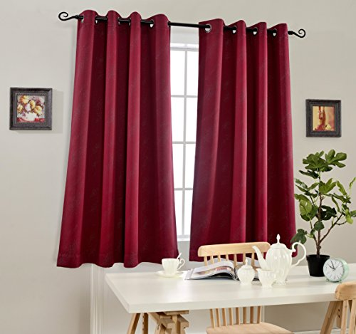 Cortina Cortina Single - MYSKY HOME Blackout Curtains for Living Room by Thermal Insulated Stardust Foil Print Drapes for Kids Room (Burgundy, 52