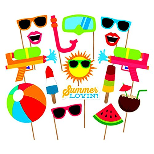COOLOOdirect 16pcs Hawaii Themed Summer Party Photo Booth Props Kit DIY Luau Party Supplies for Kids birthday Holiday Wedding Beach Party (Diy Halloween Themed Birthday Party Invitations)