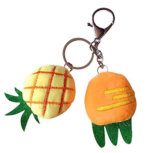 Meigold Llavero de peluche, zanahoria, fresa, piña, llavero, colgante para coche, regalo creativo