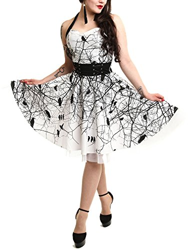 [VIXXSIN - DARK CROW DRESS - Womens White Halterneck Dress Top] (Goth Dress)