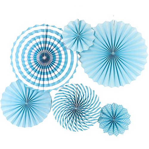 Paper Fans Blue 6pcs Round Hanging Paper Fan Decorations for Wedding Birthday Fiesta Party Supplies