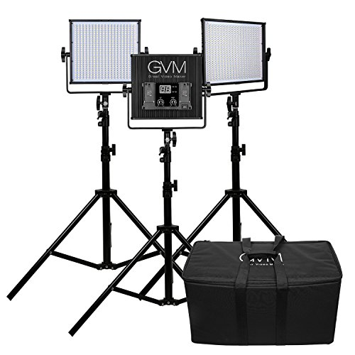 LED Video Light Panel 3 pack Kit GVM 520LS CRI97+ TLCI97+ 18500lux High brightness Bi-color 3200K-5600K video shooting Professional for Interview Studio Portrait photographic lighting by GVM