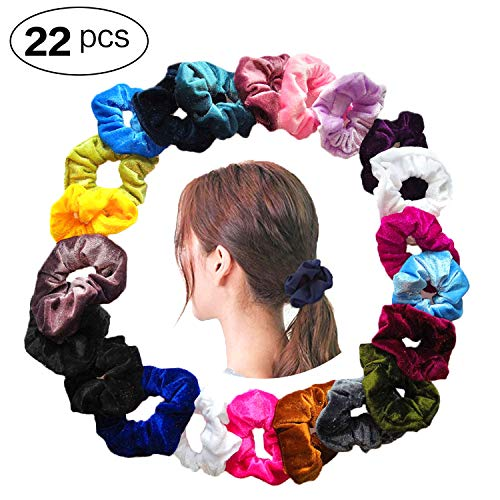 Bestland 22 Pcs Velvet Hair Scrunchies, Elastic Scrunchy Hair Ties No Crease Ponytail Holder Ropes Hair Accessories for Women Girls, 20 Colors -