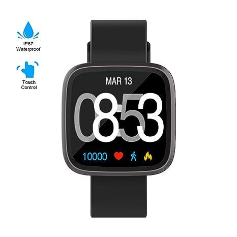 GOKOO Smartwatch Mujer Hombre, Impermeable Reloj Inteligente Elegante Monitores de Actividad Impermeable IP67 con Monitor de Sueño Pulsómetros ...