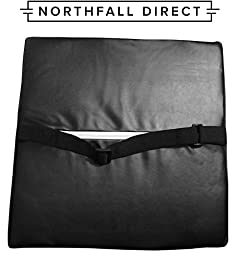 Premium PU Leather Lumbar Support by NorthFall Direct - Lower Back Pillow Cushion for Car Seats, Home, Office Chair, Airplanes and More! Includes Seat Strap - Lifetime Guarantee (Black)