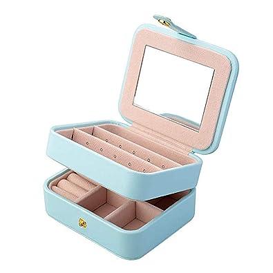 Joyero de viaje de doble capa organizador de la joyería caja de almacenamiento de tamaño pequeño