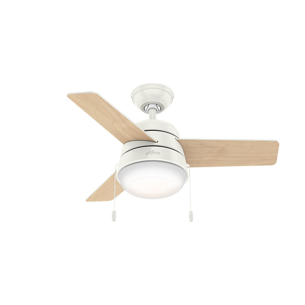 Hunter Fan Company 59301 Downrod Mount, 3 Fresh White Blades Ceiling fan with 76.83 watts light, Fresh White by Hunter Fan Company (Image #2)
