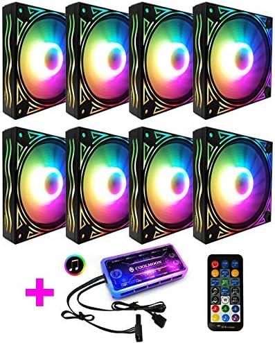 COOLMOON Ventilador RGB de Onda Gigante Ventilador de chasis de 12 cm Computadora de Escritorio Silenciador Sinfonía Que Cambia de Color Ventilador, Controlador (Color : 8 Fan)