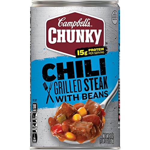 - Campbell's Chunky Chili, Grilled Steak with Beans, 19 oz. (Packaging May Vary)