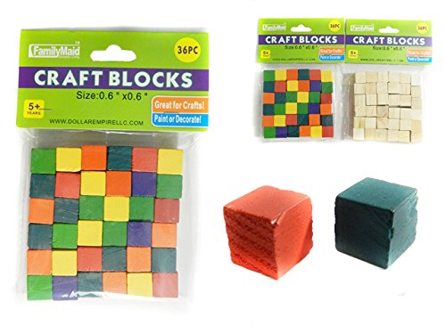 36 PC Craft Blocks, Asst Wood & Color Size: 0.55'' x 0.55'' , Case of 96