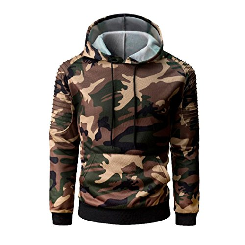 19fee2733 Clearance Men's Sweatshirts vermers Mens Autumn Casual Military Camouflage  Patchwork Long Sleeve Hoodie Top Blouse(M, Brown)