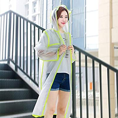 Battercake Chaqueta De Lluvia Adultos Elegante Transparente Y Femenino Al Mujeres Aire Libre Casuales Botones Poncho De Lluvia con Capucha: Ropa y accesorios