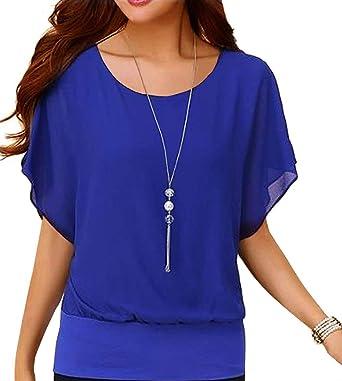 Neineiwu Women's Loose Casual Short Sleeve Chiffon Top T-Shirt Blouse