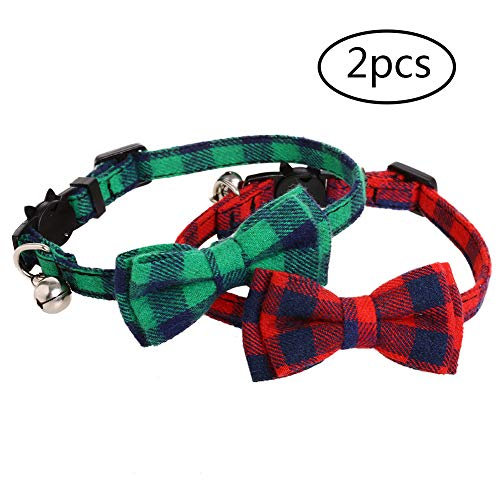 Kuoser 2 Pack Cat Collar Breakaway with Cute Bow Tie and Bell for Kitty and Small Dog Puppies, Adjustable from 7.8-11 Inch (Best Cat Tracker Uk)