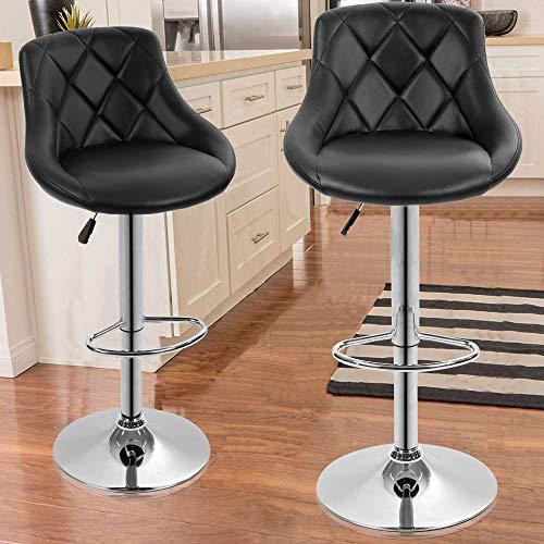 Dkeli CounterHeight Bar Stools Set of 2 Leather Adjustable Bar Chairs for Kitchen Living Room Pub Swivel Bar Stool Armrest(Black)