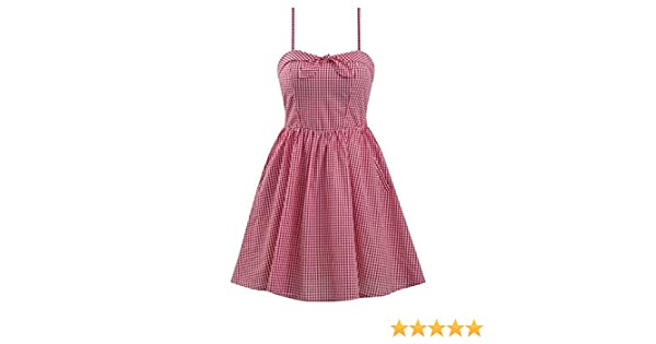 729946afe9ec Double Trouble Apparel Retro Inspired Gingham Swing Dress in Red & White at  Amazon Women's Clothing store: