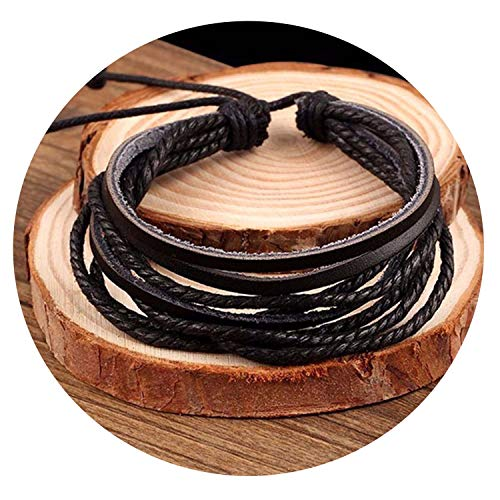 Ink White Hand-Woven Fashion Jewelry Wrap Multilayer Leather Braided Rope Wristband,Gold-Color