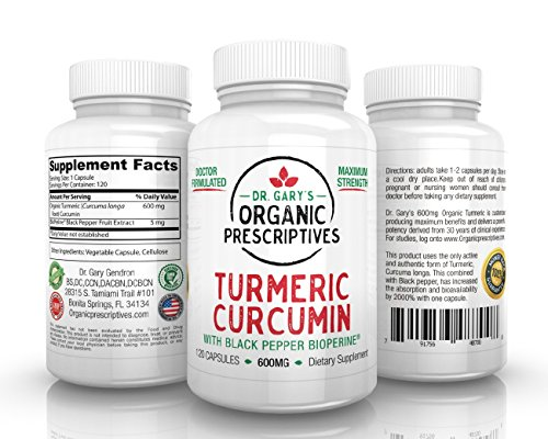 Bioperine Curcumin ORGANIC Turmeric with Black Pepper EXTRA STRENGTH Dr. Gary's 600mg- 120 Capsules-2000% more bioavailable for Max Joint Relief… For Sale