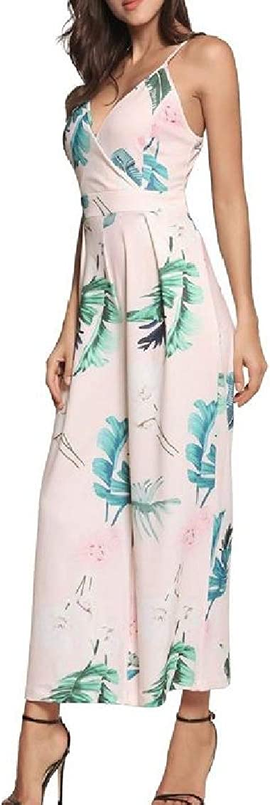 Sweatwater Womens Floral Printed V-Neck Spaghetti Strap Summer Playsuit Wide Leg Jumpsuits