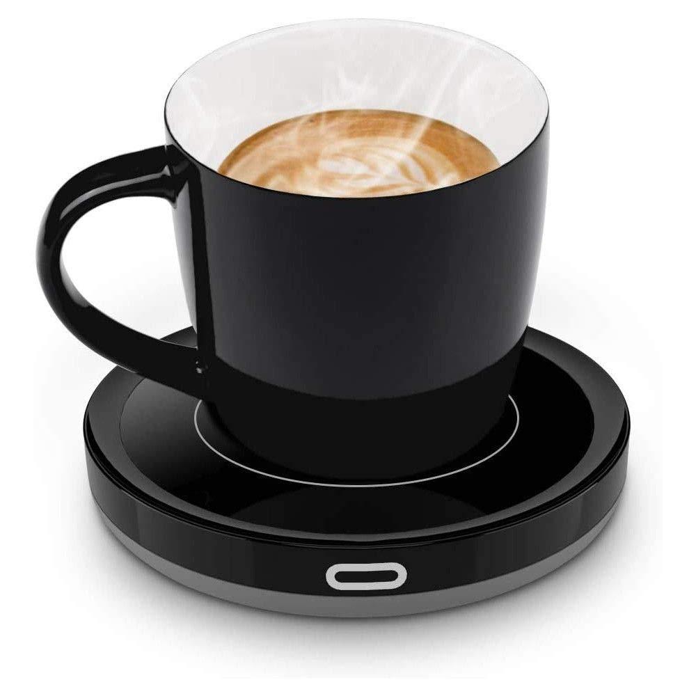 E-YIIVIIL Tassenwärmer Getränkewärmer mit Elektrischer Heizplatte Automatischer Schwerkraft-Sensor-Schalter für Tee Kaffee Milch Kaffeewärmer mit Eurostecker für Büro, Zuhause (Bis zu 131F/55C) (Set) Bild