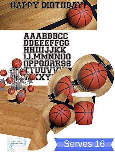 Basketball Party Supplies - Basketball Party Plates and Napkins Cups for 16 People - Includes Basketball Birthday Banner Tablecloth and Centerpiece - Perfect Basketball Birthday Party Decorations and Basketball Birthday Party Supplies! ()