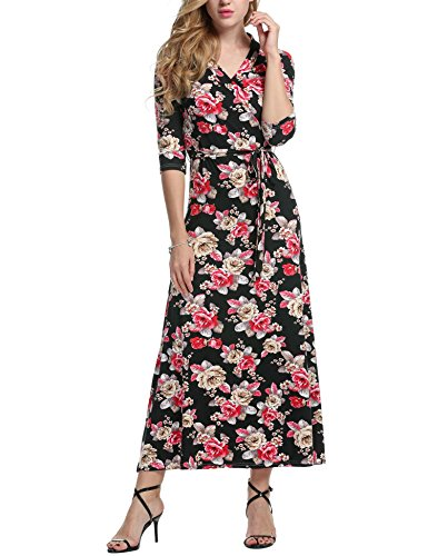 Beyove Womens V Neck Empire Waist Floral Printed Maxi Long Dress, Black & Red/M ()