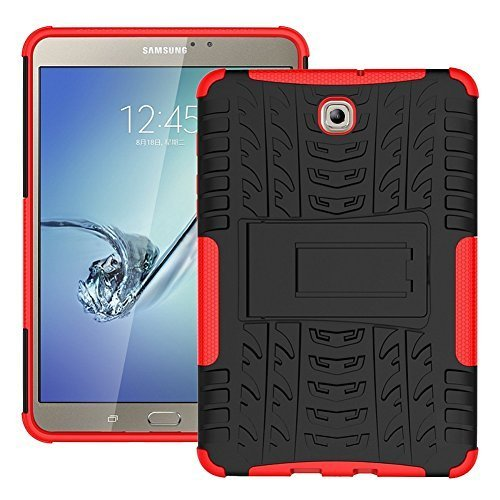 """DWay 8.0"""" Tab S2 T710 Case Hybrid Armor Design with Stand Feature Detachable Dual Layer Protective Shell Hard Back Cover Case for Samsung Galaxy Tab S2 8.0inches SM-T710 / T715 (Red)"""