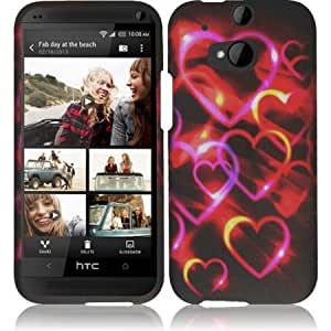 HR Wireless Rubberized Design Case for HTC One M8 - Retail Packaging - Colorful Hearts