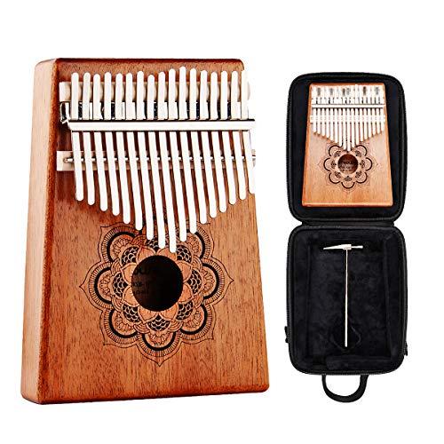 Kalimba 17 Key Thumb Piano - Kithouse Kalimba Thumb Finger Piano 17 Keys Mbira - Include Kalimba Case, Music Song Book, Tuning Hammer (Mandala Flower)