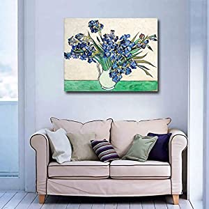 Niwo Art (TM - Vase with Irises, by Vincent Van Gogh - Oil Painting Reproductions - Giclee Canvas Prints Wall Art for Home Decor, Stretched and Framed Ready to Hang (16 x 20 x 0.75 Inch) 2
