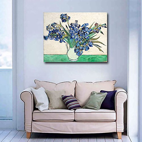 Niwo-Art-TM-Vase-with-Irises-by-Vincent-Van-Gogh-Oil-Painting-Reproductions-Giclee-Canvas-Prints-Wall-Art-for-Home-Decor-Stretched-and-Framed-Ready-to-Hang-16-x-20-x-075-Inch