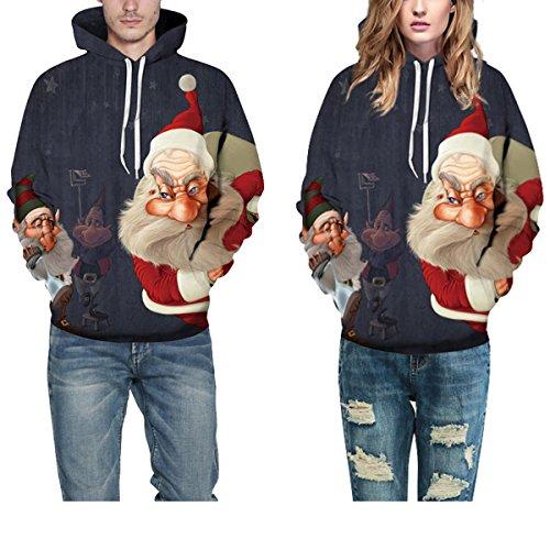 Con Sciolti Dimensioni Street Donne Di Felpe Natale Da Cappuccio Maglie Maglioni E Uomini QYDM166 Vestiti Amanti Nani Con Style Baseball Pullover Grandi Cappuccio Natale wOYqW