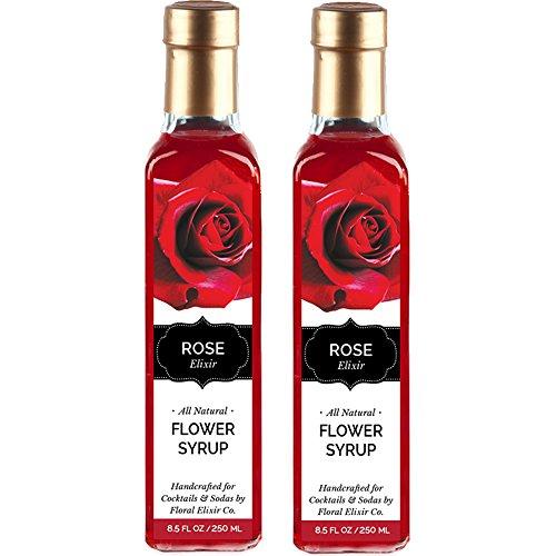 2 Pack All Natural Rose Flower Syrup for Cocktails & Sodas