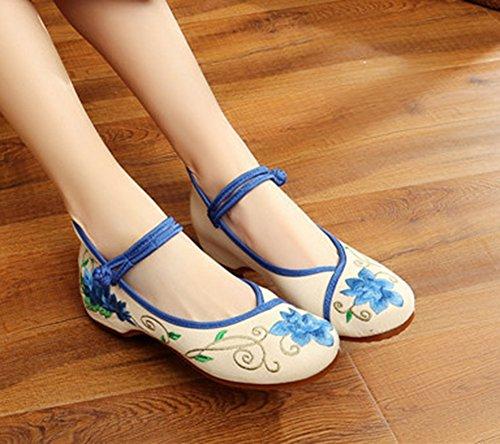 Dress Blue Embroidery Blue Shoes Lotus Womens Wedges Cheongsam Comfort AvaCostume x5HB0qnwx