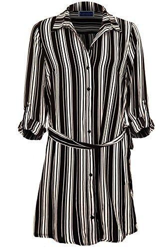 Sapphire TIENDA mujer atado a la cintura enrollable manga Crepé Chifón raya Camisa larga blusa top